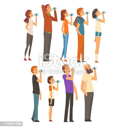 People Drinking Water from Plastic Bottles Set, Men, Women and Children Enjoying Drinking of Fresh Clean Water Vector Illustration on White Background.