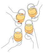 Vector Illustration from people celebrating and drinking wine. Friends having a toast.