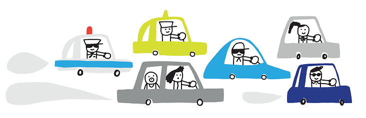 People driving cars