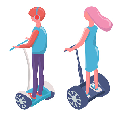 People Driving on Electric Transport Segway Vector