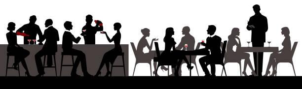 stockillustraties, clipart, cartoons en iconen met mensen eten en drinken van alcoholische dranken in het restaurant bar hall vectorillustratie - voedsel en drank serveren
