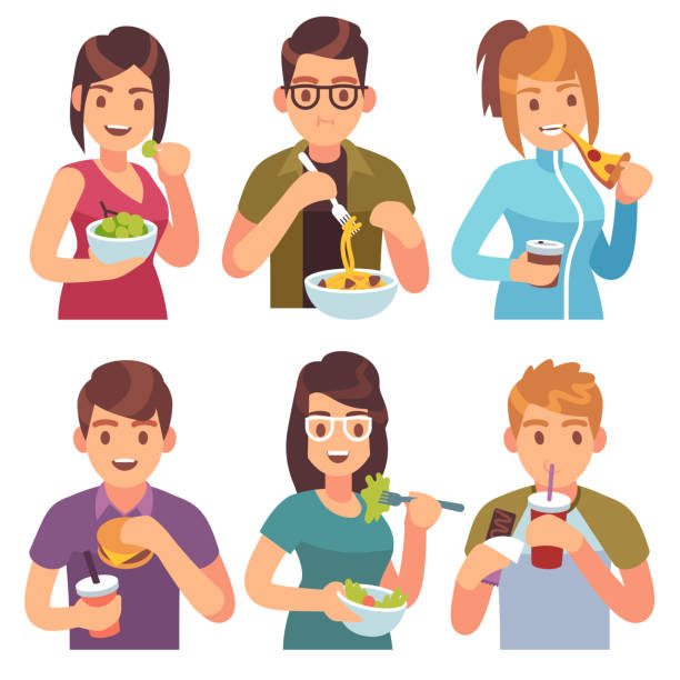People eating. Eat drinking food men women healthy tasty dishes meals cafe casual lunch hungry friends People eating. Eat drinking food men women healthy tasty dishes meals cafe casual lunch hungry friends, cartoon vector illustration female sandwich stock illustrations