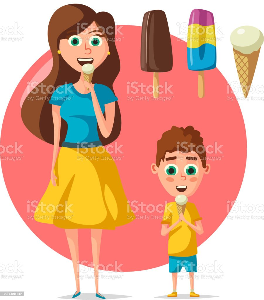 People eating ice cream vector flat woman or child vector art illustration