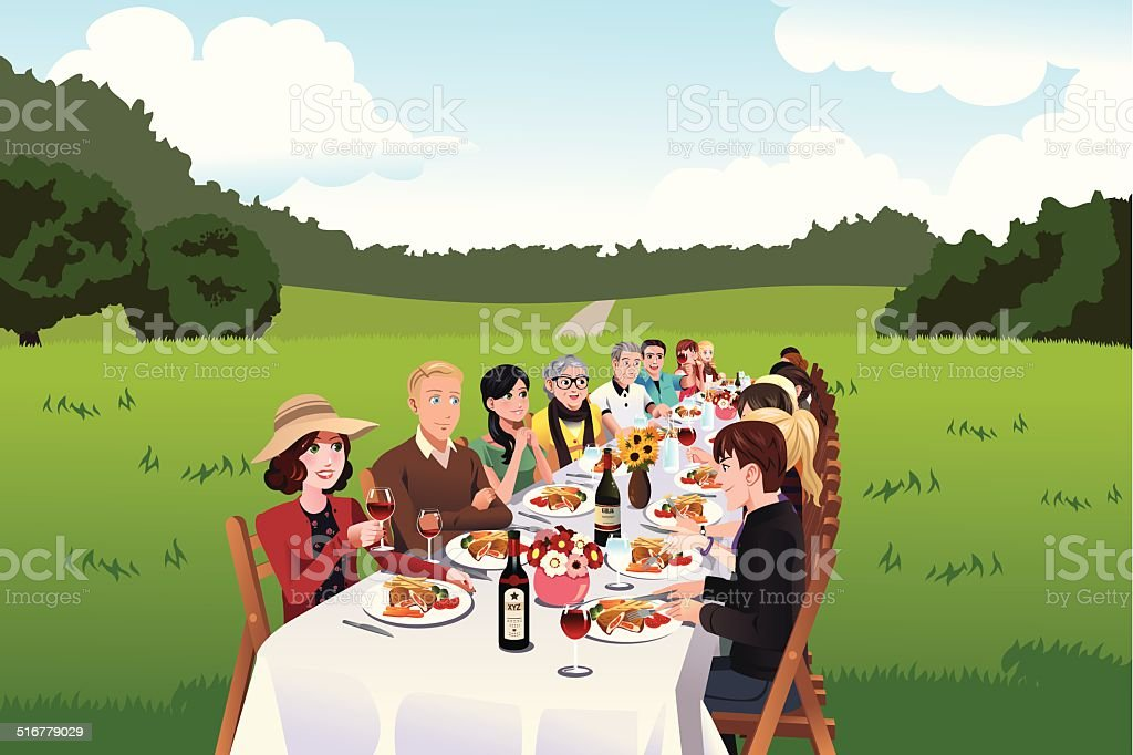 People eating in a farm table vector art illustration