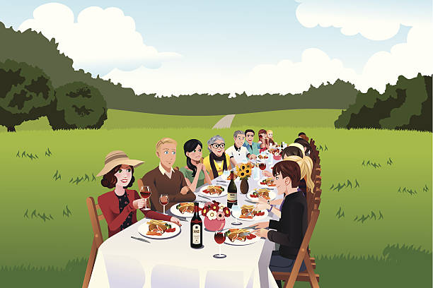 Gens de manger dans une table de ferme - Illustration vectorielle