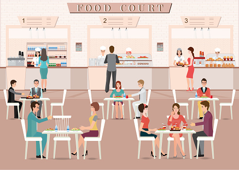 People eating in a food court in a shopping mall.