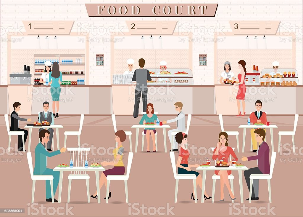People eating in a food court in a shopping mall. vector art illustration