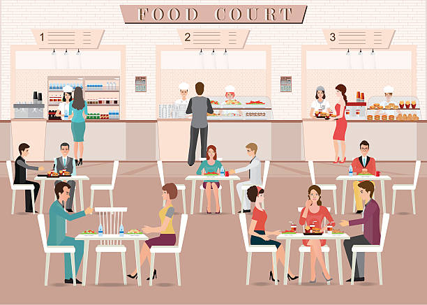 people eating in a food court in a shopping mall. - gastronomiebetrieb stock-grafiken, -clipart, -cartoons und -symbole