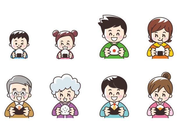 おにぎりを食べる人 - 母娘 笑顔 日本人点のイラスト素材/クリップアート素材/マンガ素材/アイコン素材