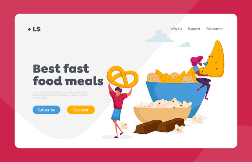 People Eating Snack and Fast Food in Cafe, Junk Meal and Unhealthy Nutrition Landing Page Template. Tiny Female Character Taking Cookies and Pretzel from Huge Plate. Cartoon Vector Illustration