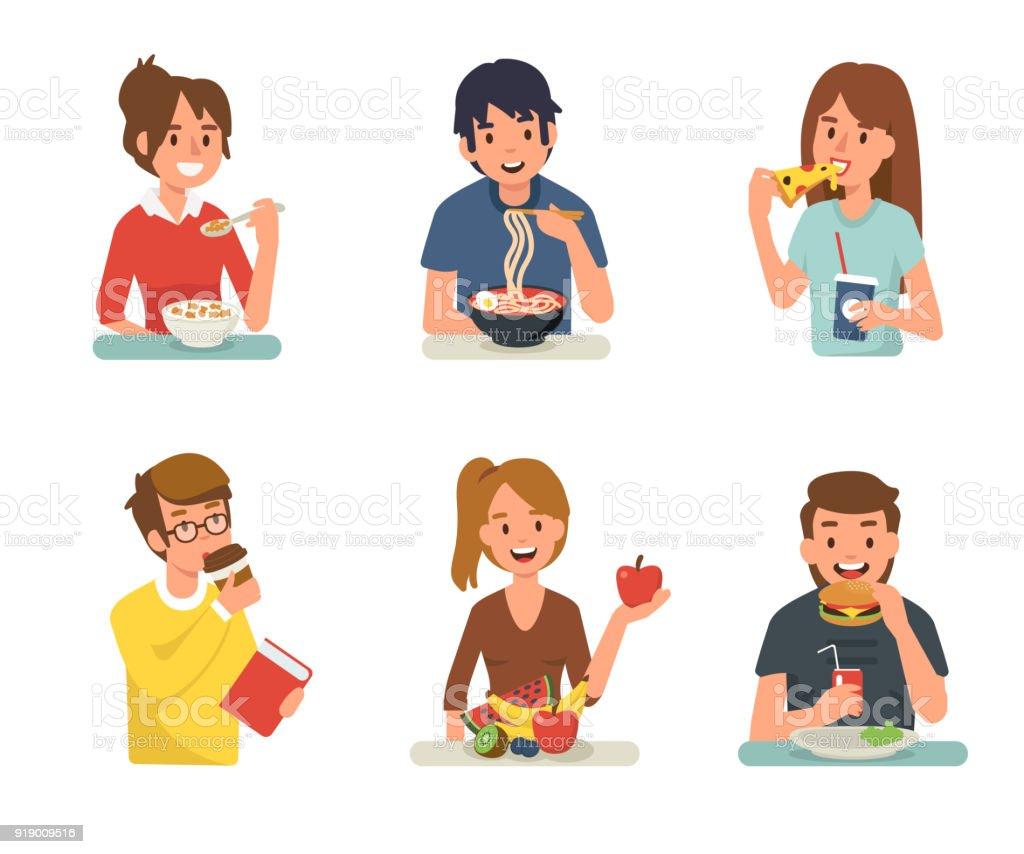 食べる人の イラストレーションのベクターアート素材や画像を多数ご