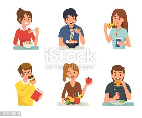 People eating different meals. Flat style vector illustration isolated on white background.