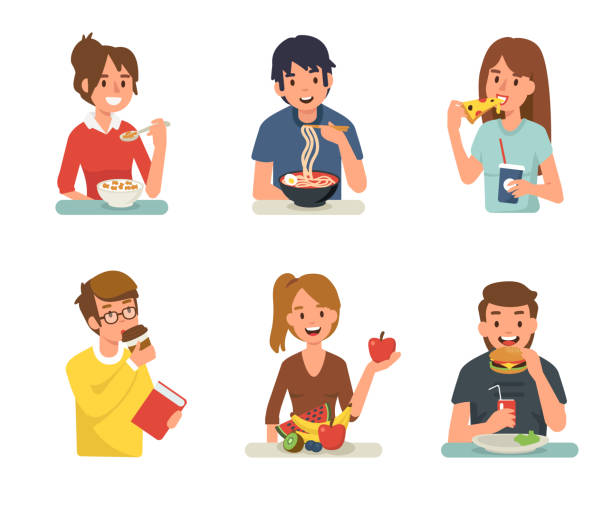 people eating People eating different meals. Flat style vector illustration isolated on white background. female sandwich stock illustrations