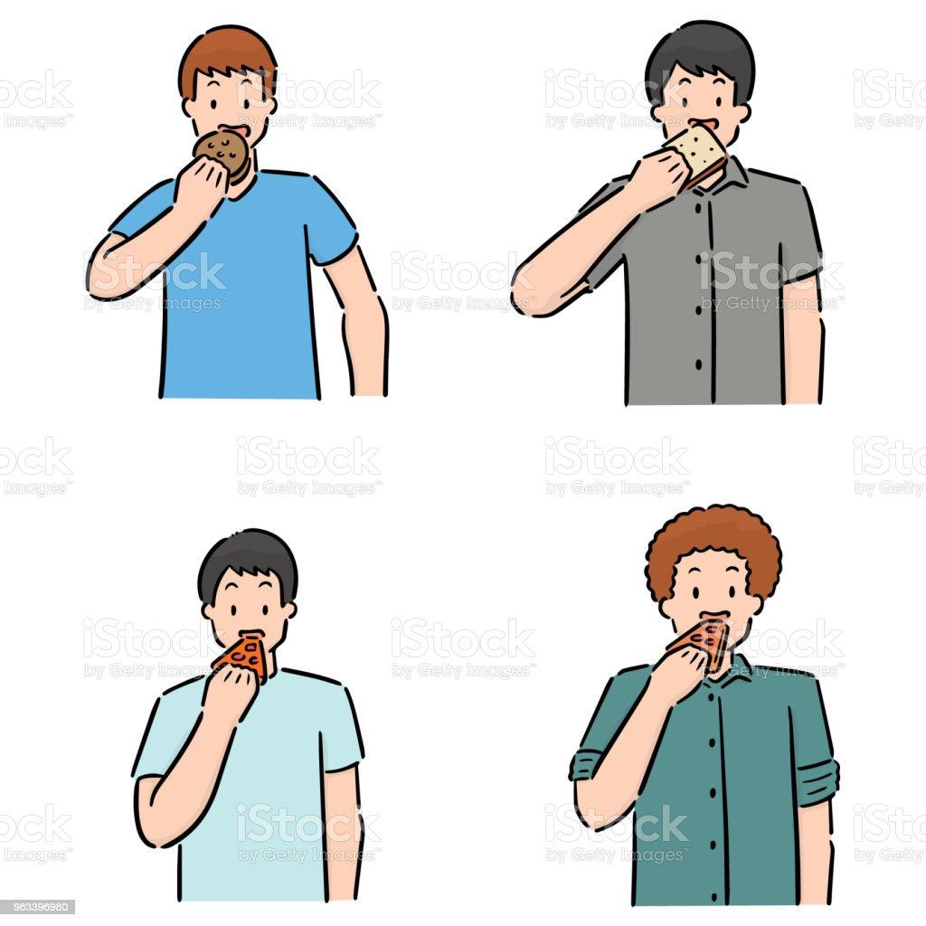 people eating - Grafika wektorowa royalty-free (Bazgroły - Rysunek)