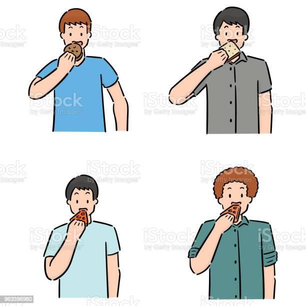 Osób Jedzących - Stockowe grafiki wektorowe i więcej obrazów Bazgroły - Rysunek