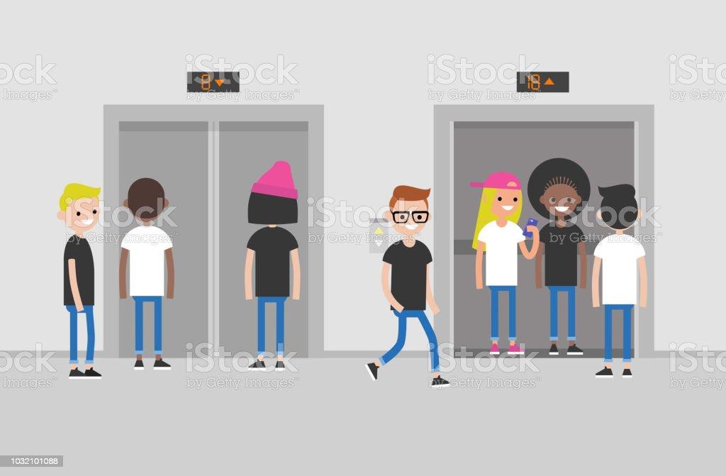 Menschen Aufzug Business Center Halle Buro Wandern Und Stehende
