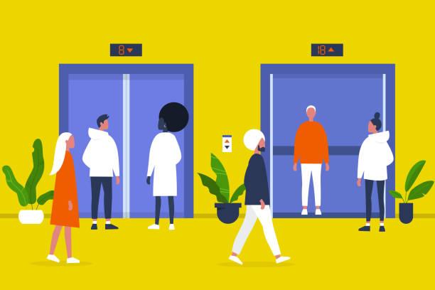 illustrations, cliparts, dessins animés et icônes de gens. ascenseur. salle de centre d'affaires. bureau. marche et personnages debout. vie en semaine. illustration de vecteur editable plat, clipart - hall d'accueil