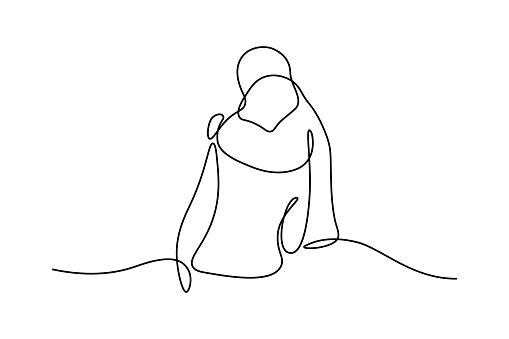 People embracing in continuous line art drawing style. One person giving the shoulder to another. Support and backing. Minimalist black linear sketch isolated on white background. Vector illustration