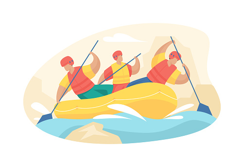 People engaged in extreme rafting. Adrenaline descent along mountain rivers with team building.