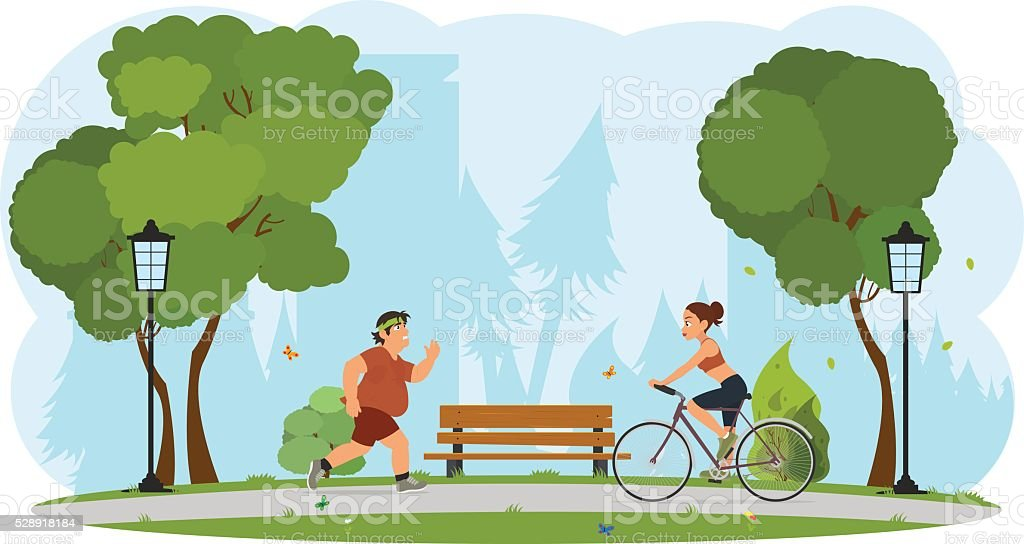 people engaged in sports city park. vector art illustration