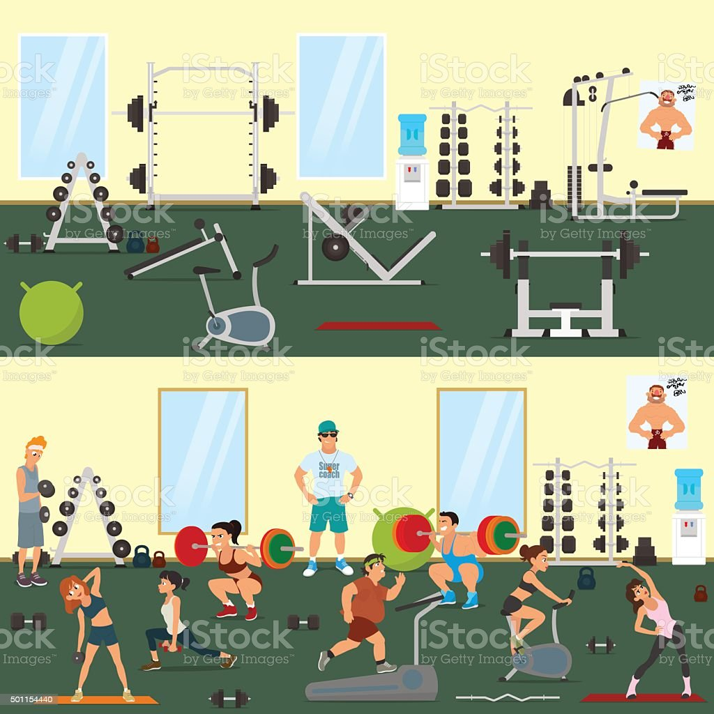 People engaged in the modern gym vector art illustration