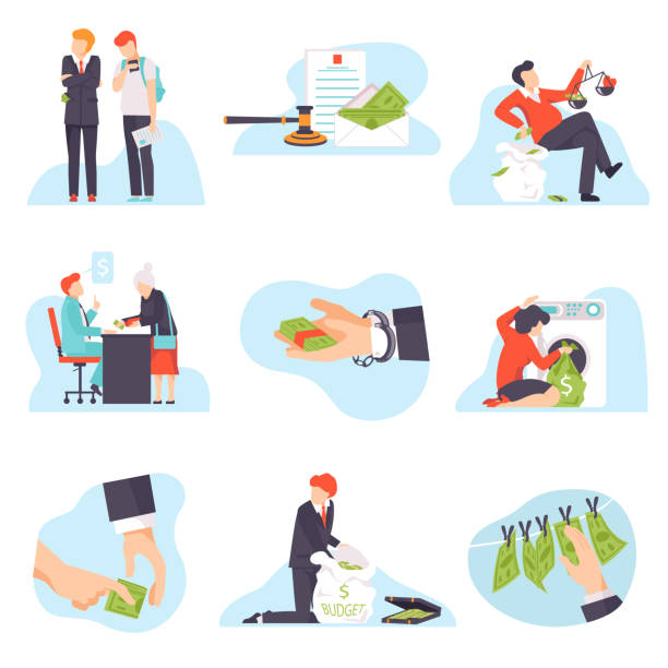 ilustrações de stock, clip art, desenhos animados e ícones de people engaging in corruption acts vector illustration isolated on white background - corruption