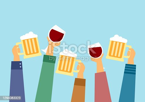 People enjoy drinking alcohol, beer and wine for celebrating in the party.
