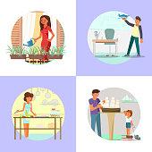 People enjoying their hobbies vector flat illustration