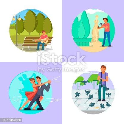 People enjoying their hobbies vector flat illustration. Guitar playing, sculpting, dancing, photography or video shooting. Music, arts and craft hobbies.