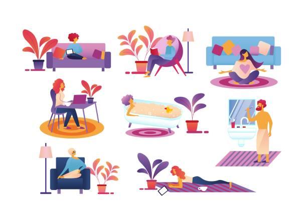 stockillustraties, clipart, cartoons en iconen met mensen elke dag het leven routine, tijd doorbrengen thuis. - vrouw schoonmaken