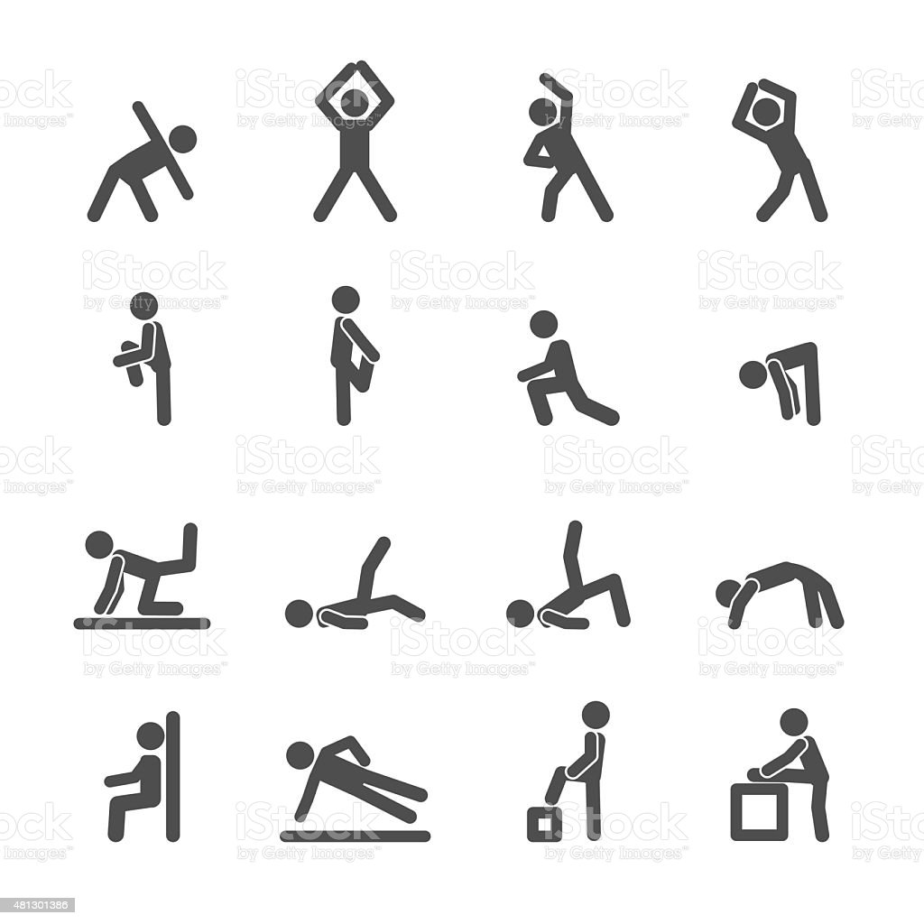 people exercise in fitness icon set, vector eps10 vector art illustration