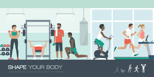 People exercising at the gym vector art illustration
