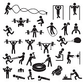 People exercising icon set. Vector. eps10.