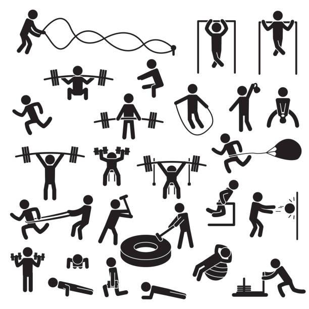 ilustraciones, imágenes clip art, dibujos animados e iconos de stock de gente ejercitando el conjunto de iconos. vector. - entrenamiento con pesas