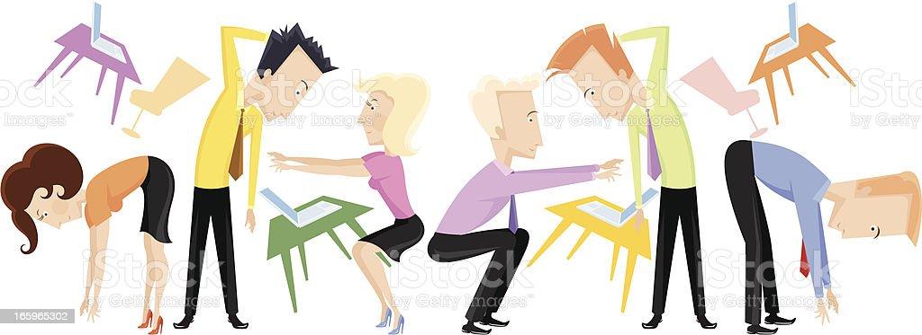 People exercising. vector art illustration