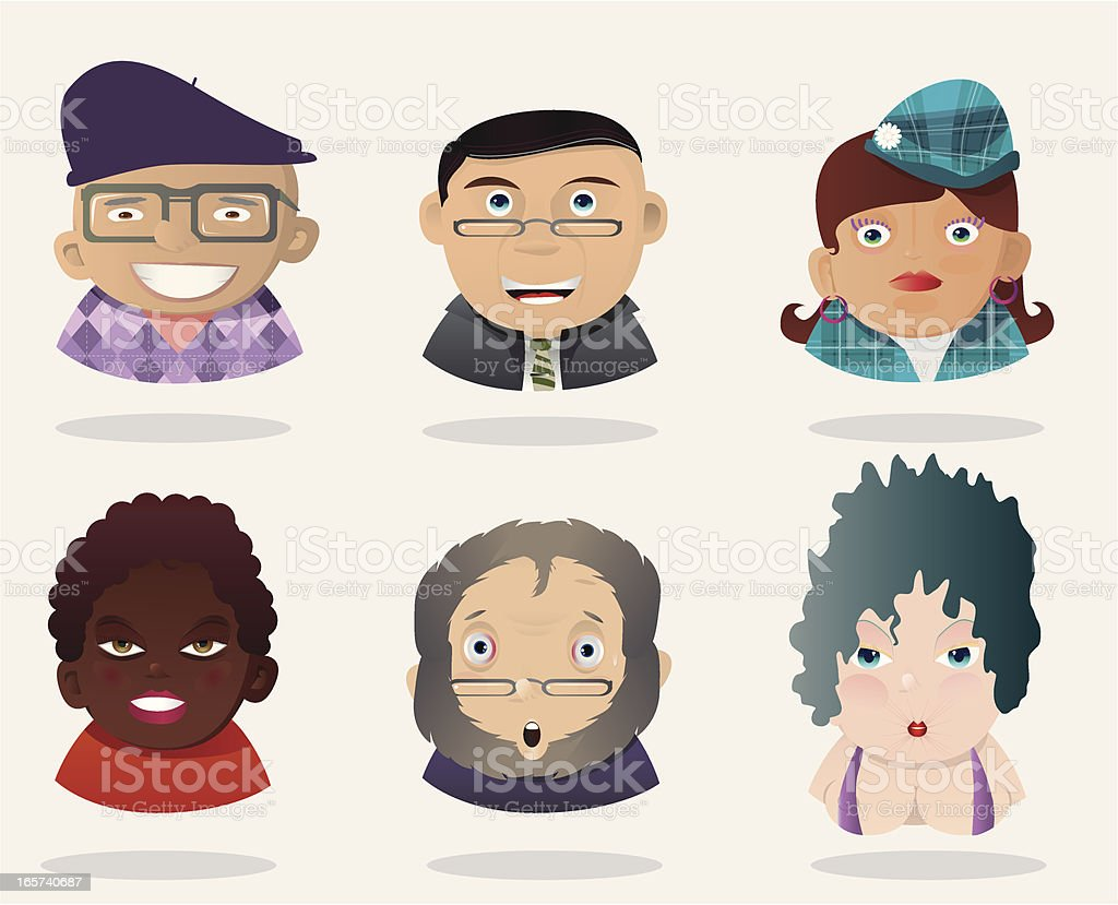 People Faces 16 royalty-free stock vector art