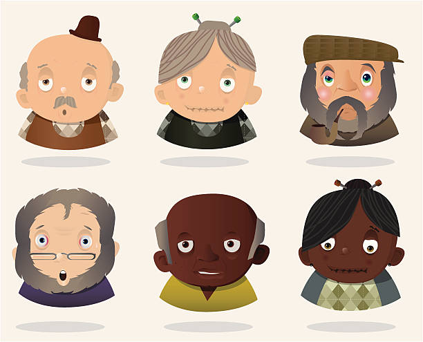 people faces 2 - old man face cartoon stock illustrations, clip art, cartoons, & icons