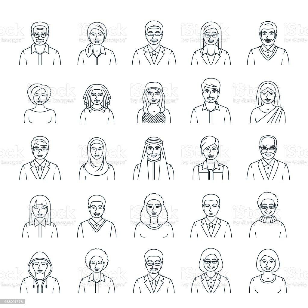 People faces avatars flat thin line vector icons vector art illustration