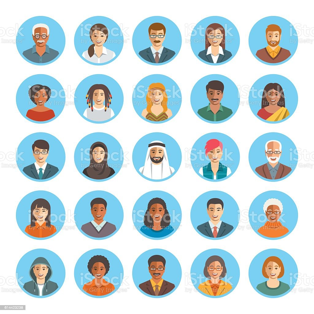 People faces avatars flat vector icons vector art illustration