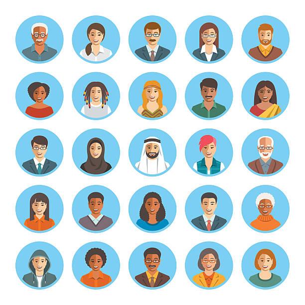 People faces avatars flat vector icons vector art illustration
