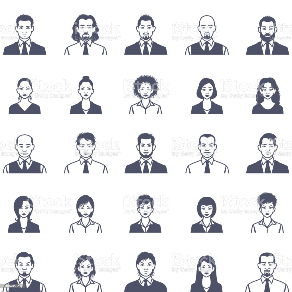 People faces icon set vector art illustration