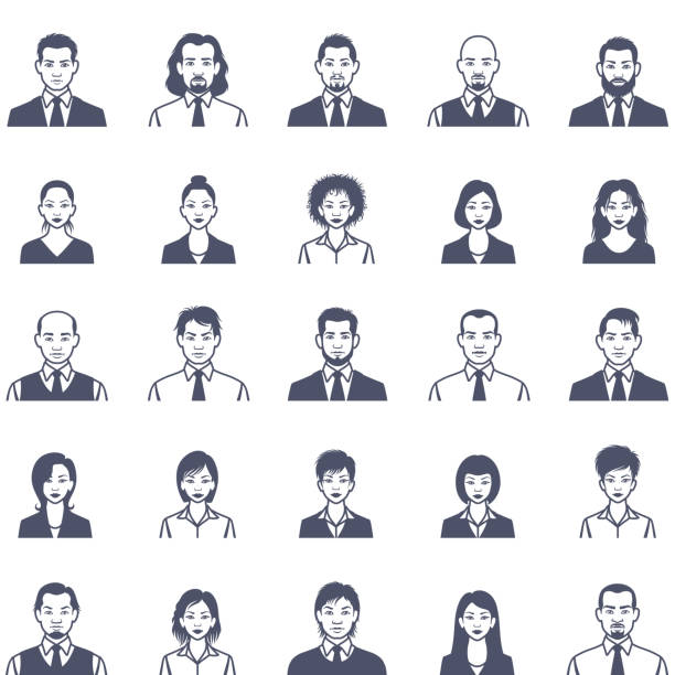人の顔アイコンを設定 - ビジネスマン 日本人点のイラスト素材/クリップアート素材/マンガ素材/アイコン素材