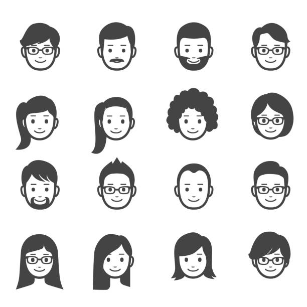 people faces icons - ladies faces stock illustrations, clip art, cartoons, & icons