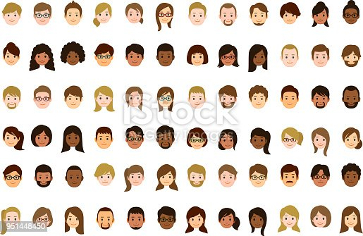72 people faces icons.