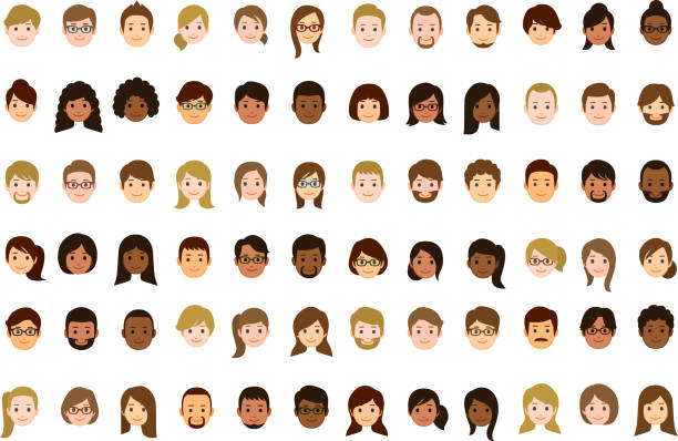 People faces icons vector art illustration