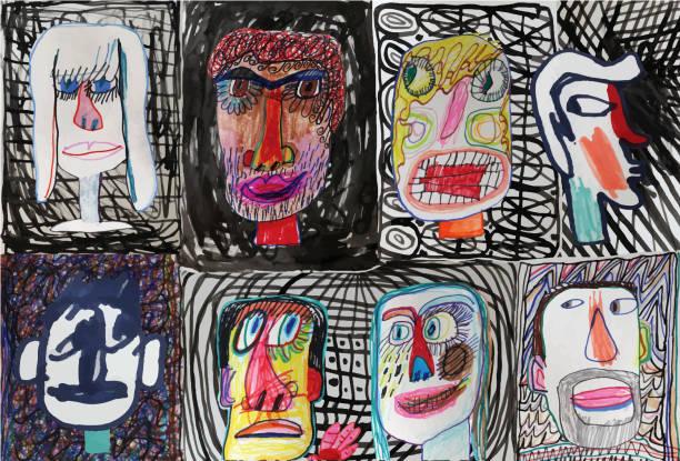 illustrations, cliparts, dessins animés et icônes de visages des gens sur fond à motifs - art