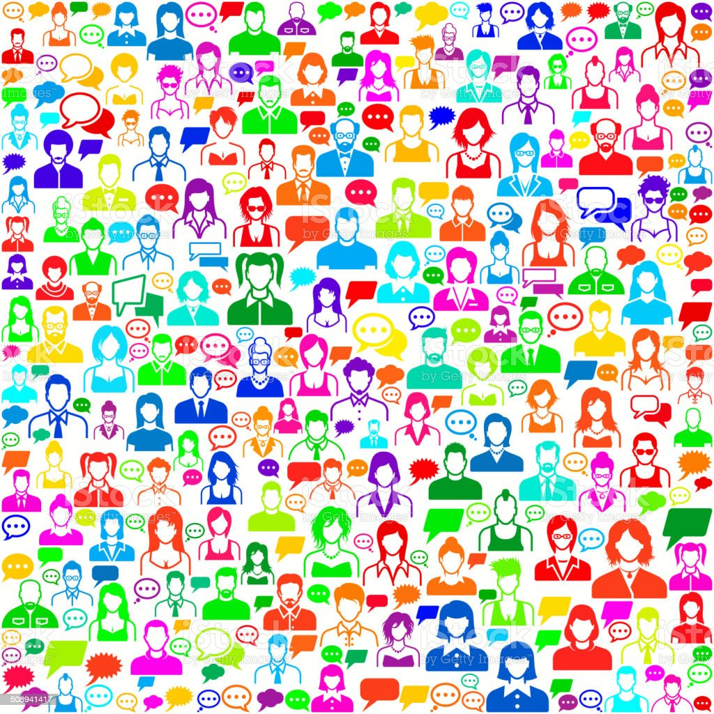 People Faces on Seamless Background vector art illustration