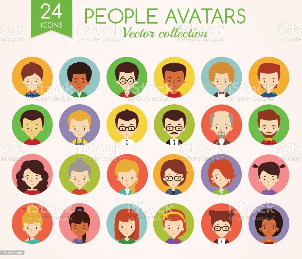 People faces. Set of round vector avatars. vector art illustration