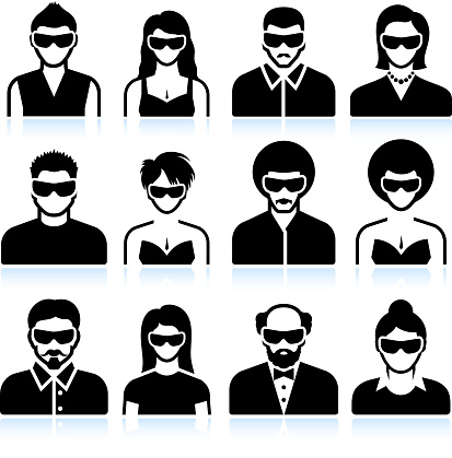 People faces with 3D glasses for virtual reality experience