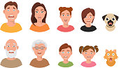 People facial emotions afraid fearful scared windy emotions human faces different expressions vector illustration in flat style